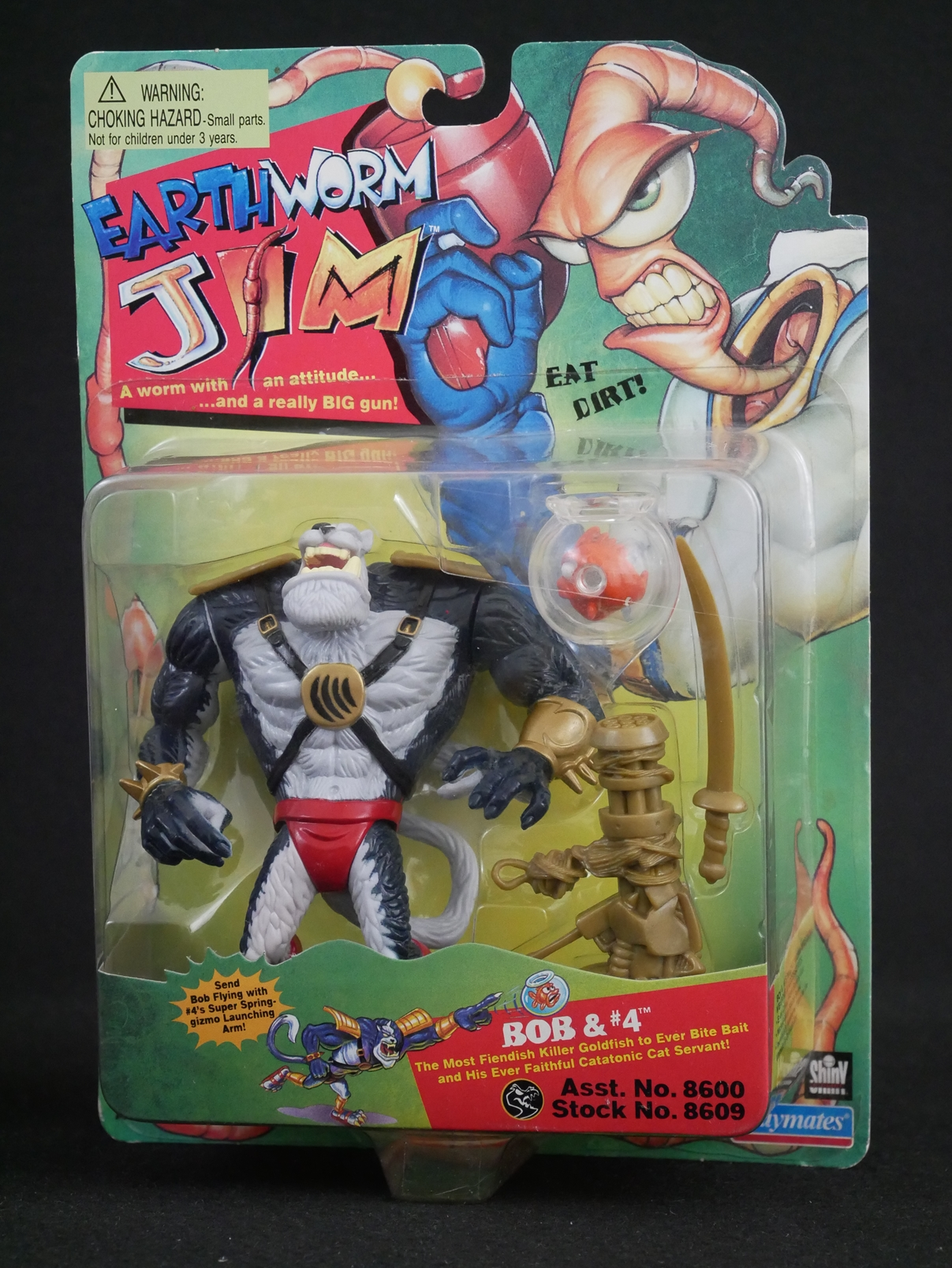 1 Playmates Toys Earthworm Jim Bob and #4 Figure Card Front